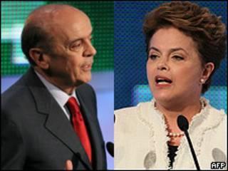 Dilma Rousseff y José Serra