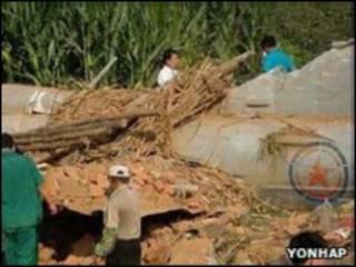 Обломки северокорейского самолета