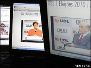 Marina, Serra e Dilma no debate online