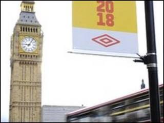 Лозунг Чемпионата мира 2018 года возле Би-Бена