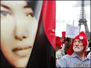عکس آرشیوی از تظاهراتی در اعتراض به حکم اعدام خانم آشتیانی