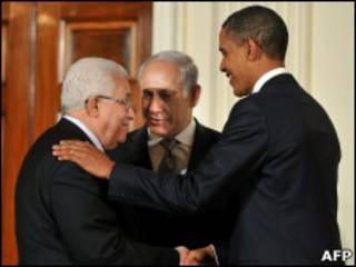 Барак Обама, Биньямин Нетаньяху и Махмуд Аббас