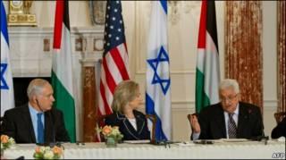 Клинтон, Аббас и Нетаньяху перед начало переговров