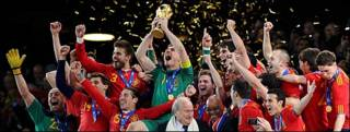 La selección española celebra su victoria en el mundial de Sudáfrica
