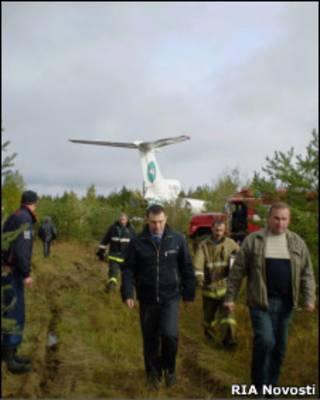 На месте вынужденной посадки Ту-154 в Республике Коми 7 сентября 2010 г.