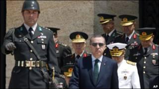 رجب طیب اردوغان به همراه سران ارتش ترکیه