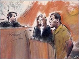 Dibujo judicial de Umar Farouk Abdulmutallab, acompañado (izqda) de su abogada Miriam Siefer, ante la jueza Nancy Edmunds.
