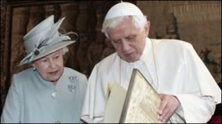महारानी ऐलिज़ाबेथ और पोप बेनेडिक्ट