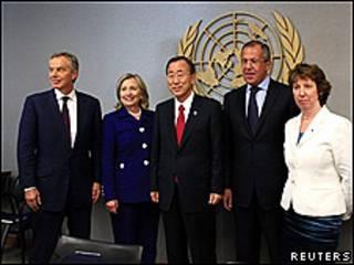 Tony Blair, Hillary Clinton, Ban Ki-moon, Sergei Lavrov y Catherine Ashton: los representantes del Cuarteto para Medio Oriente