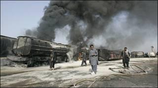 टैंकरों में लगी आग