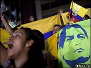 Simpatizantes del gobierno de Rafael Correa