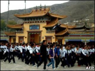 Акция протеста тибетских студентов