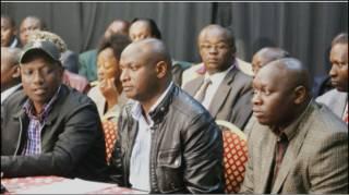 Wiliam Ruto na wanasiasa Charle Keter na Joshua Kutuny