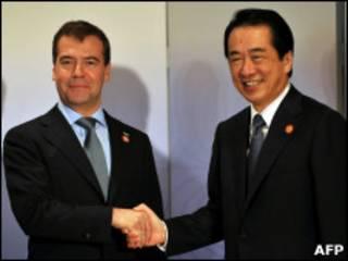 Дмитрий Медведев и Наото Кан в Иокогаме