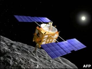Зонд Хаябуса рядом с астероидом Итокава