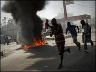 Демонстранты на Гаити