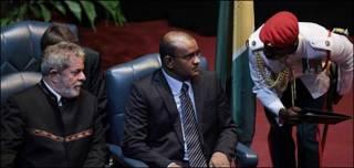 El presidente de Brasil, Inácio Lula da Silva y el primer ministro de Guyana, Bharrat Jagdeo