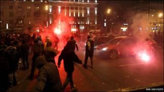 Стихийная демонстрация фанатов в Москве