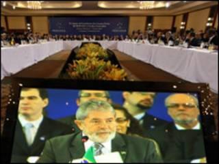 Transmissão de discurso de Lula em encontro do Mercosul (Foto: Ricardo Stuckert/Presidência da República)