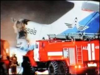 صحنه آتش سوزی هواپیمای روسی