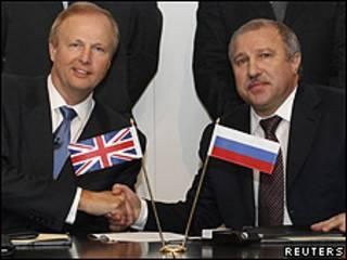 Firma del acuerdo entre Rosneft y BP.