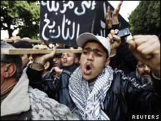 Foto de arquivo de protesto na Tunísia