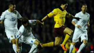 在周三(1月19日)阿森纳与利兹的足总杯比赛中的纳斯里