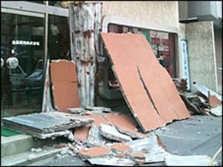 Danos causados pelo terremoto em Tóquio (foto: Joyce Nishiyama/Arquivo pessoal)