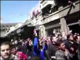 Masu zanga-zanga a birnin Damascus na Syria