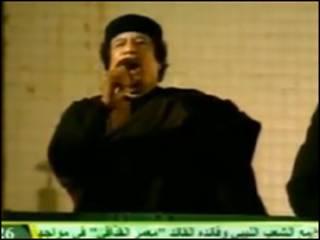 Imagem de vídeo de Khadafi, nesta terça