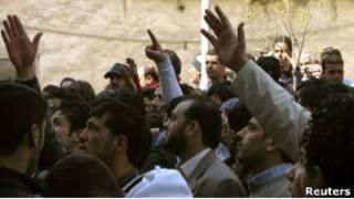 Акция протеста в пригороде Дамаска