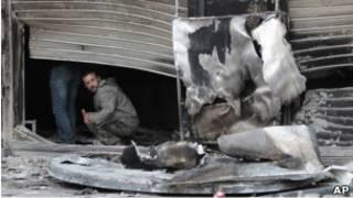 Tienda atacada en Latakia, Siria.