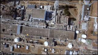 Vista aérea de la planta de Fukushima