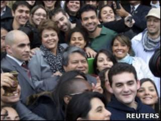 A presidente Dilma Roussef na Universidade de Coimbra, Portugal (Reuters)