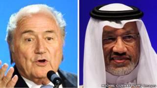 Sepp Blatter (kiri) dan Mohamed Bin Hammam (kanan)
