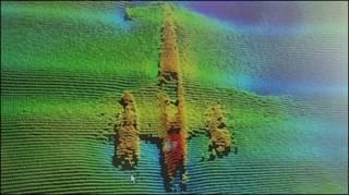 Bombardeio alemão Dornier 17 em imagem tridimensional (foto cedida pelo Port of London - Reston)