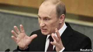 Владимир Путин выступает с отчетом правительства перед Госдумой 20 апреля 2011 г.
