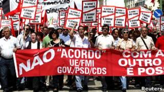 Акция протеста в Португалии против выделения помощи МВФ и ЕС