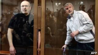Ходорковский и Лебедев во время суда в Москве в мае этого года