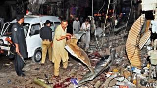 Последствия взрыва в Пакистане