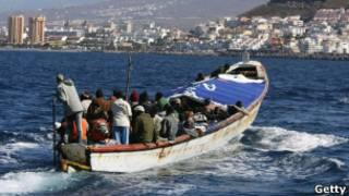 Imigrantes africanos tentam chegar a Tenerife, em foto de arquivo (Getty)
