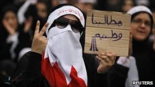 Manifestante no Bahrein (Reuters)