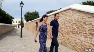 卡梅伦首相夫妇过去休假照片