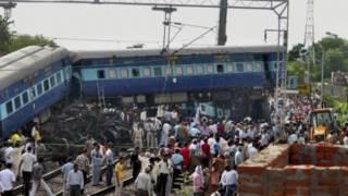 Kecelakaan kereta di Fatehpur, India utara