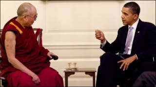 Đức Đạt Lai Lạt Ma và Tổng thống Barack Obama tại Phòng Bản đồ