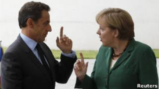 Sarkozy e Merkel, em encontro nesta quarta (Reuters)