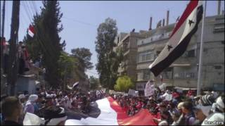 सीरियाई प्रदर्शनकारी
