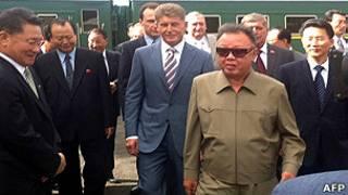 Ким Чен Ир на станции Новобурейская