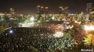 Manifestação em Tel Aviv neste sábado, 3 de setembro.