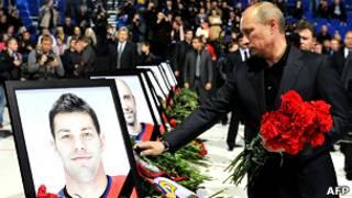 Владимир Путин на траурной церемонии в Ярославле